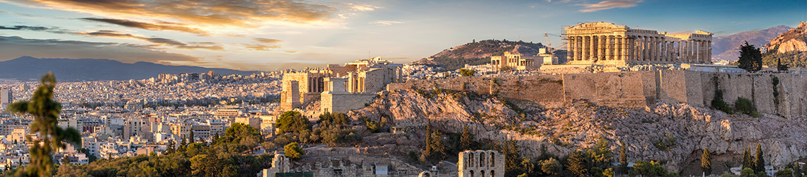 Panorama of the Acropolis of Athens, Greece, at sunset